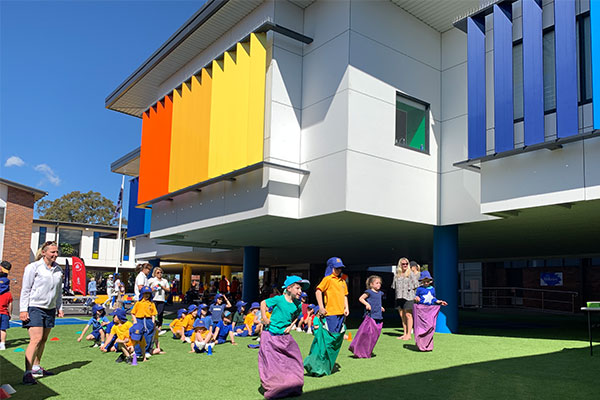 Students at St Agnes Catholic Primary School Matraville playing outside