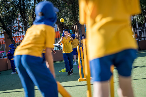Students at St Catherine Labouré Catholic Primary School Gymea playing cricket