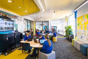 Students working in breakout area at St Catherine Laboure Catholic Primary School Gymea