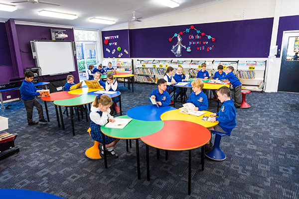Students at St Catherine Laboure Catholic Primary School Gymea working in library