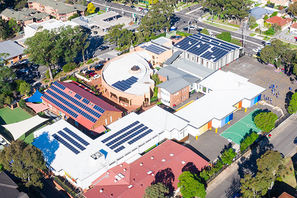 Aerial view of St Catherine Labouré Catholic Primary School Gymea